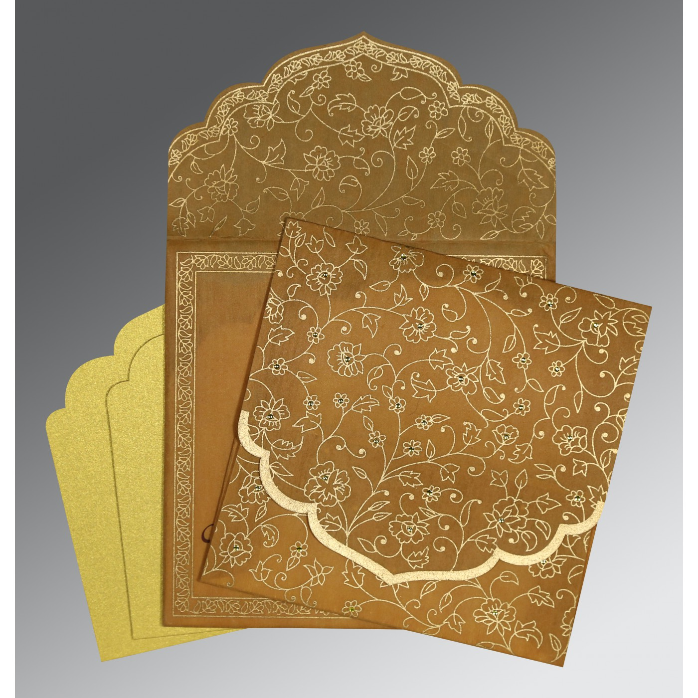 SATIN GOLD WOOLY FLORAL THEMED - SCREEN PRINTED WEDDING INVITATION : ASO-8211E - A2zWeddingCards