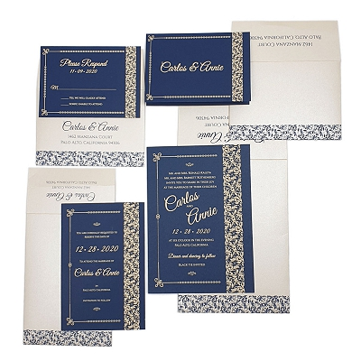 Blue Matte Screen Printed Wedding Invitation : AETCHED