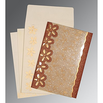 Brown Handmade Shimmer Floral Themed - Screen Printed Wedding Card : AIN-1439