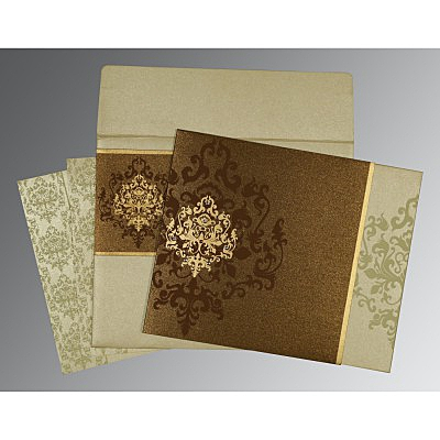 Brown Shimmery Damask Themed - Screen Printed Wedding Card : AIN-8253A
