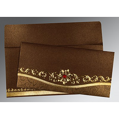 Brown Shimmery Foil Stamped Wedding Invitation : AIN-1499