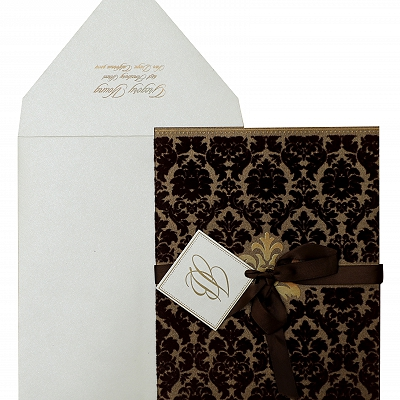 Brown Shimmery Paisley Themed - Screen Printed Wedding Invitation : AIN-838