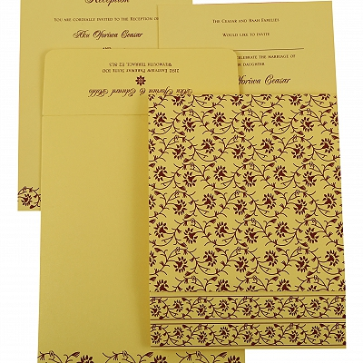 Cream Shimmery Floral Themed - Screen Printed Wedding Invitation : AIN-822G