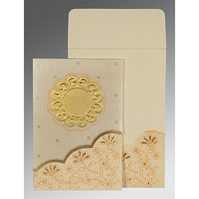 Ivory Matte Floral Themed - Screen Printed Wedding Card : AIN-1183