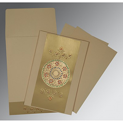 Ivory Matte Foil Stamped Wedding Card : AIN-1407