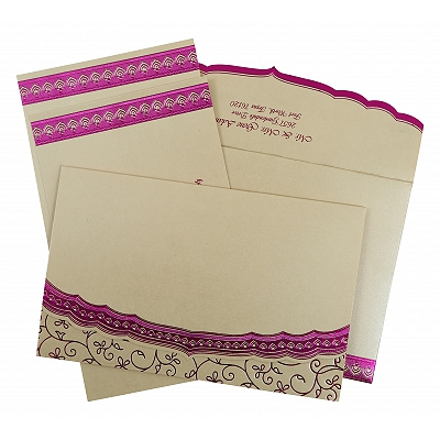Ivory Shimmery Foil Stamped Wedding Invitation : AIN-806C