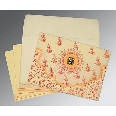 Ivory Wooly Screen Printed Wedding Invitation : AIN-8207A