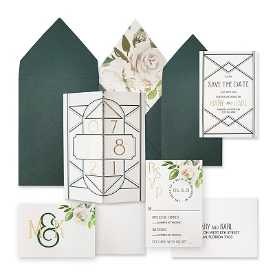 White Matte Floral Themed - Screen Printed Wedding Invitation : ALUSTROUS_NIGHT