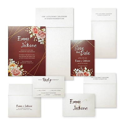 White Shimmery Floral Themed - Screen Printed Wedding Invitation : AREDWOOD_JARDINIER